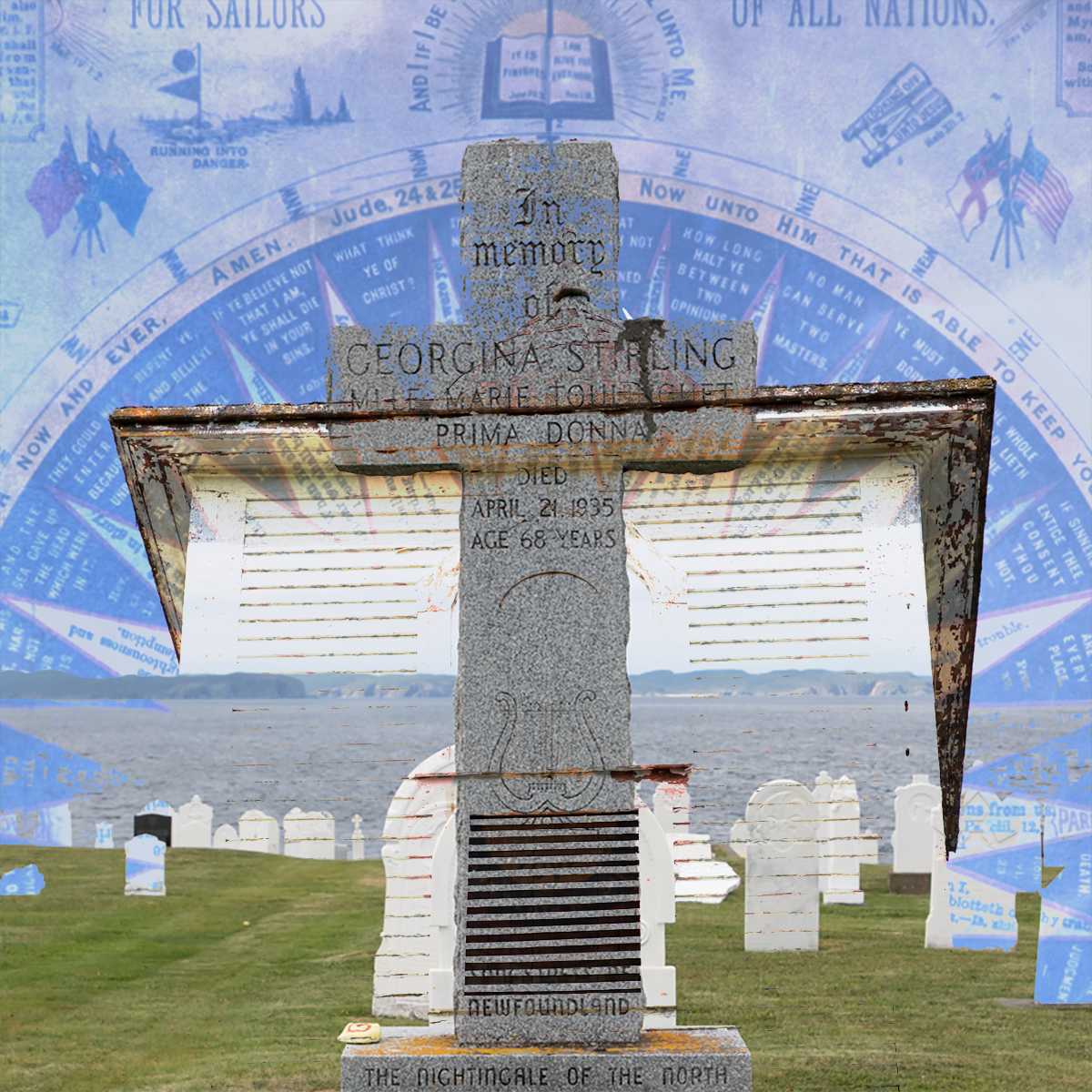 composite of church, tombstone and gospel compass